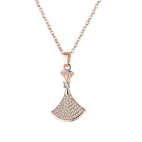 Collar Simple y versátil Collar de acero de titanio Personalidad femenina Cadena de clavícula en forma de abanico Joyería para novia