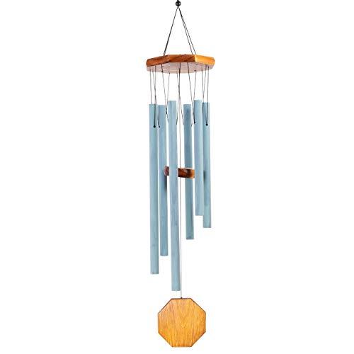 CIM Klangspiel - Harmony Cement Blue - Windspiel Gesamtlänge: 80cm - inkl. S-Haken Aufhängung - wetterfest - mit wohltuenden Klängen