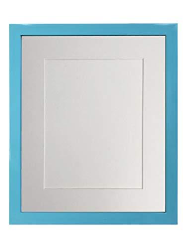 FRAMES BY POST - Cornice portafoto Blu con passepartout Bianco, 50 x 40 cm, Formato A3 in plastica, Vetro e Moun