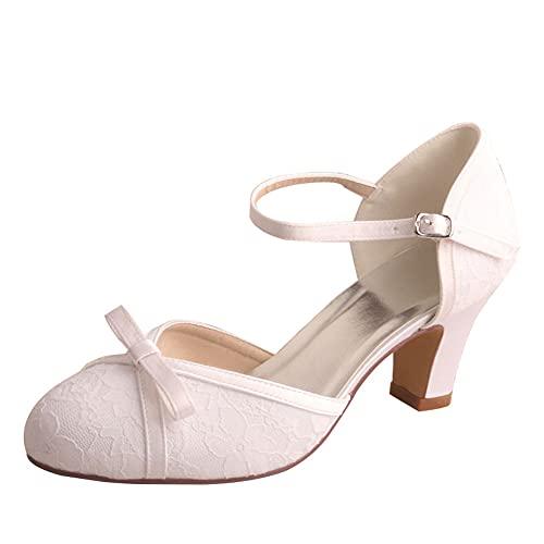 Mujer Zapatos De Boda Tacón Medio Punta Cerrada Mary Jane Encaje Satén...