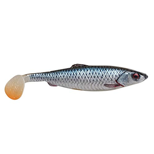 Savage Gear 4D Herring Shad - Gummifisch zum Spinnfischen auf Hecht & Zander, Gummiköder zum Hechtangeln, Gummishad für Hechte, Farbe:Roach (Rotauge), Länge / Gewicht:19cm - 45g