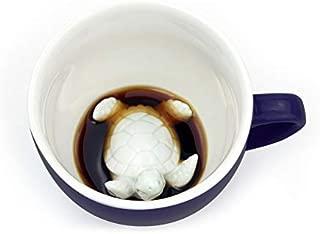 CREATURE CUPS Florida Turtle Ceramic Cup (11 Ounce, Deep Sea Blue) | Florida State Decal on Outside | Hidden Animal Inside | Coffee mugs & Tea cups