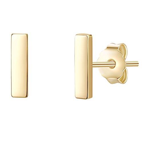 Glanzstücke München Damen-Ohrstecker Stäbchen Sterling Silber gelbvergoldet - Ohr-Schmuck Stab Ohrringe gelb-gold