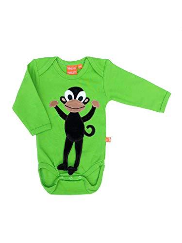 Lipfish Body à Manches Longues avec des Animaux appliqués, Dessin Suédois, 100% Coton Green Monkey, 6-12 Mois.