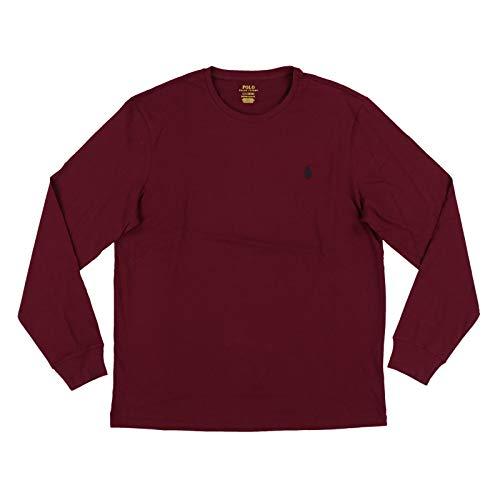 Polo Ralph Lauren Mens Long Sleeve Crew Neck Custom Slim Fit T-Shirt (L, Light Burgundy)