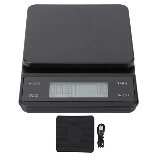DSED Balanza de café-3 kg/0,1g LCD electrónico Cocina Digital Balanza de Alimentos por Goteo Pesaje de café con Temporizador Carga USB