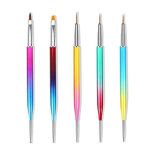 Hanyousheng Nagelkunst Pinsel Set,5 Pcs Nageldesign Pinsel, Double Ended Nail Art Liner Pinsel, Nail Art Dotting Pen, Punktierwerkzeug für Nail Art Design
