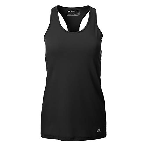 Arctic Cool Women's Tank Instant Cooling Moisture Wicking Performance UPF 50+ Tank Top | Lightweight Breathable Tank for Running, Workout, Exercise, Yoga, Fishing, Cool Black, XL