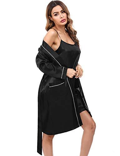 Doaraha Kimono Mujer Bata Satén Sexy Ropa de Dormir Seda Batas Novia Vestido Dama de Honor Pijama Cortos Conjunto de Lencería Albornoz Camisón Suave Sedoso (Negro, XL)