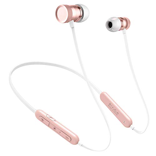 Picun Bluetooth Headphones Neckband 20H Playtime, Wireless Earbuds Bluetooth 5.0 with Microphone, Magnetic Sport Gym in-Ear Earphones for Running Workout IPX5 Sweatproof (Rose Gold)