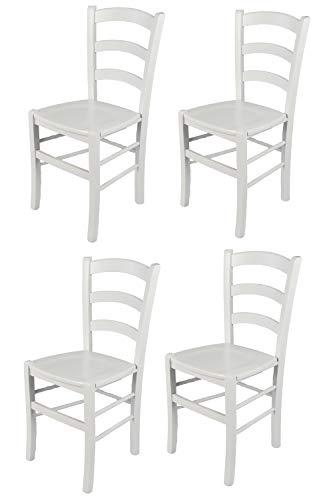 Tommychairs - Set 4 sedie modello Venezia per cucina bar e sala da pranzo, robusta struttura in legno di faggio laccata bianco e seduta in legno