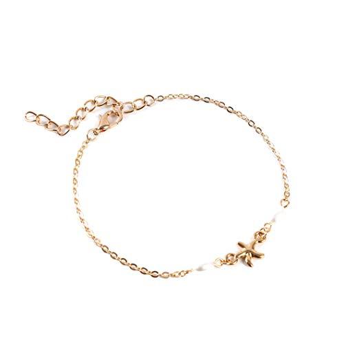 INSEET Faux Perle Bracelet De Cheville Plage Étoile De Mer Pied Chaîne Bijoux pour Femmes Filles, Couleur Or