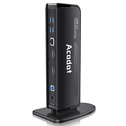 Docking Station, Acodot 13-in-1 USB 3.0 Universal Laptop Dockingstation mit 6X USB 3.0, 2 HDMI, Gigabit Ethernet, Audioausgang/Eingang für 2 Monitore, Dell, HP, MacBook Pro, Lenovo