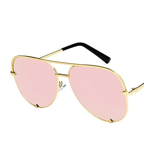terg Clásico Retro Gafas de Sol Rana Espejo de Lujo de Lujo diseñador de la Marca de la Marca de Doble Haz de Haz de Metal es cómodo de Usar, de Moda y los Colores Modernos Pink