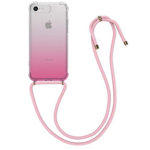 kwmobile Hülle kompatibel mit Apple iPhone 7/8 / SE (2020) - mit Kordel zum Umhängen - Silikon Handy Schutzhülle Zwei Farben Pink Transparent