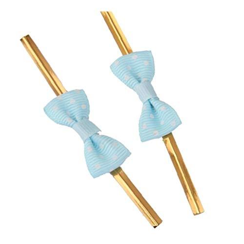 asdfwe Approx.50pcs Rose del Bowknot del Embalaje De Regalo Metálicos Precintos para La Fiesta De La Panadería De La Galleta Bolsas Light Blue