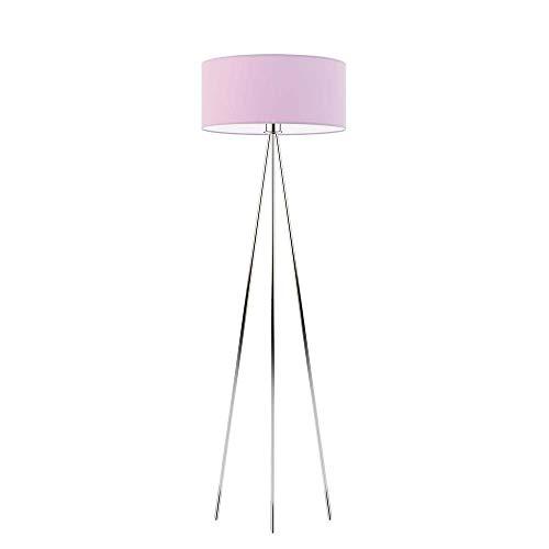 SEWILLA - Lámpara de pie con pantalla de lámpara, color morado claro y cromo