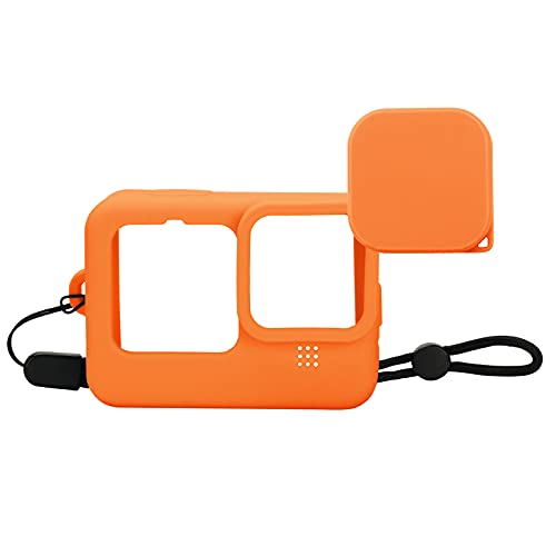 Protective Case for Gopro Hero 9 (Orange) Soft Silicone Case Cover for GoPro Hero 9 with Lens Cap and Lanyard