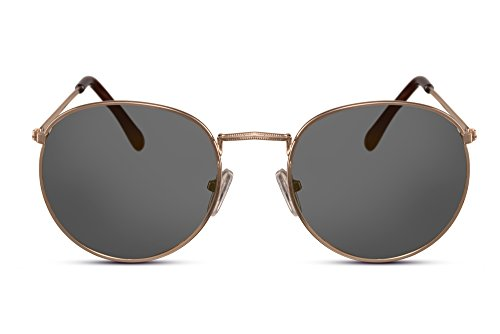 Cheapass Sonnenbrille Rund Gold Grau UV-400 Retro Vintage John-Lennon Metall Männer Frauen