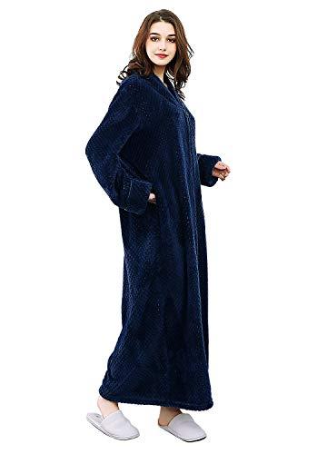Women's Zip Front Bathrobe Soft Warm Long Fleece Plush Robe Plus Size Fluffy Housecoat Sleepwear Dressing Gown