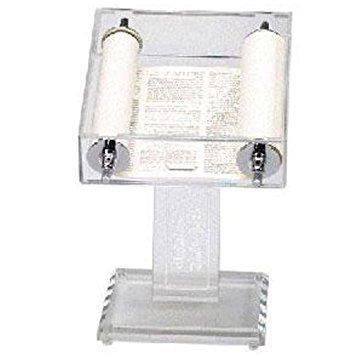 Clear Acrylic Torah Stand with Engraved Ten Commandments