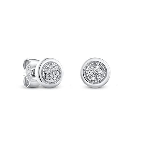 Miore Damen Ohrstecker 9 Karat – Dezente, elegante Ohrringe aus 375 Weißgold mit 14 weißen Diamanten mit 0,06 ct. – Ohrschmuck klein Ø 5,5 mm