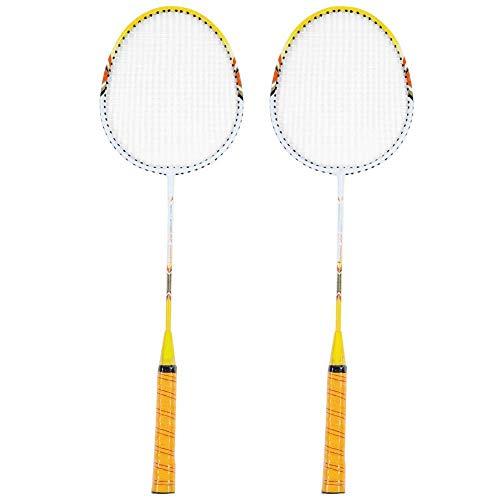 Tbest 1 Paar Federballschläger Set Stoßdämpfungs-Badmintonschläger Leichte Badminton Schläger Trainingsschläger mit Tragetasche für Outdoor en Indoor Gelb