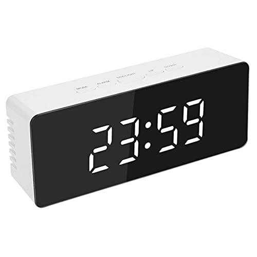 Reloj Despertador Digital de 7 Pulgadas,Reloj de Escritorio Digital Electrónico Led Curvo Regulable,Reloj De Mesa con NúMeros Grandes para Dormitorio Infantil