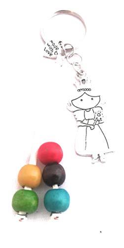 Esencia del Aroma- Set 3 llaveros Artesanal abalorio Princesa con Cuentas de Colores, Regalo Artesanal para invitadas a comunión, Boda. Lleva la Princesa de la casa en un Llavero Siempre a Mano.