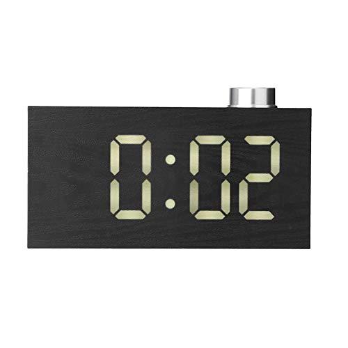 GYCZC Led Knopf Digitaluhr Home Fashion Elektronische Snooze Wecker Kreative Thermometer Uhr Weiß