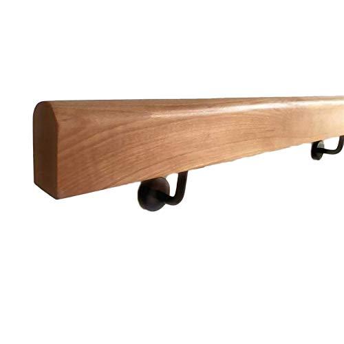 WZNING Barandilla de madera de 50-300 cm - Riel de barandilla de escalera antideslizante, kit de pasamanos de seguridad con soportes de ferrocarril de pared, barandillas de soporte de corredor de anci