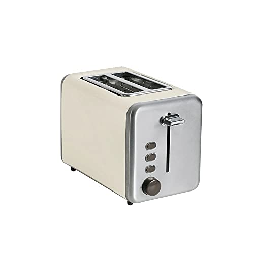 ANGLED-large capacity 2 Slice Toaster, Extra Wide Slot Toaster, Retro Toaster with 7 Bread Shade Set up, Defrost/Bagel/Cancel Function, Removable Crumb Tray, Stainless Steel Toaster, Vintage white Hig