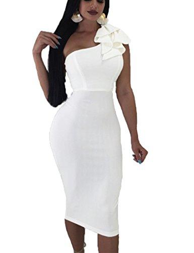 Mokoru Women's Sexy Ruffle One Shoulder Sleeveless Bodycon Party Club Midi Dress, Medium, Pure White