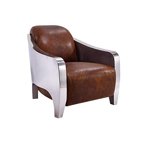 INSIDE New Club Prestige AVIATOR Sessel aus braunem Vintage-Leder und Chrom