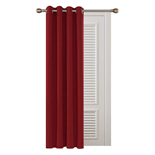 Deconovo Ring Top Door Curtain Thermal Eyelet Curtain Thermal Insulated Red Blackout Curtain for Living Room 52'x 84' Red 1 PANEL