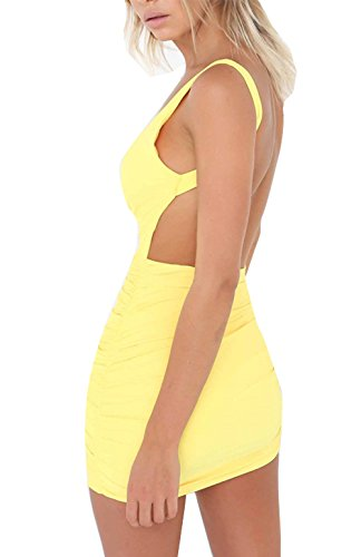 Damen Rückenfrei Ärmellos Partykleid Etuikleid Mini Kurze Abendkleider Bodycon Sommerkleid (S, Gelb)