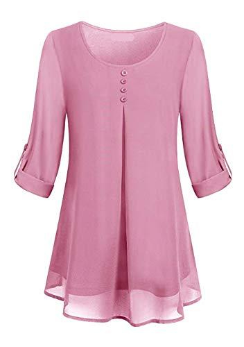 EFOFEI Damen Langarm T-Shirt mit Manschettenknopf und Manschettenbluse Tops Pink S