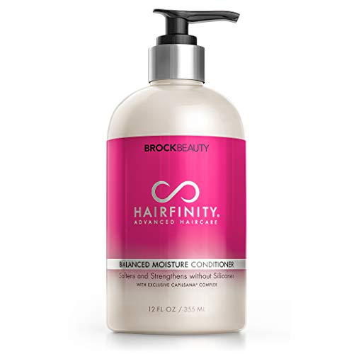 Hairfinity Balanced Moisture Biotin Conditioner - Silicone & Sulfate Free Growth Formula - Treatment for Damaged, Dry, Curly or Frizzy Hair - Thickening for Thin Hair, Safe for Color Treated Hair 12oz