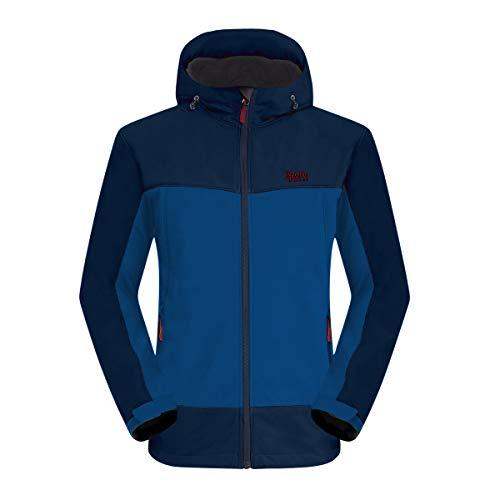Balcony&Falcon Softshell Jacke für Herren reißfeste & atmungsaktive Funktions Jacke Wasserabweisende Outdoor Jacke für Herren Blau L