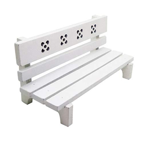 MagiDeal 1/12 Puppenhaus Gartenmöbel - Mini Sitzbank Parkbank Holzbank Ruhebank aus Holz - Weiß
