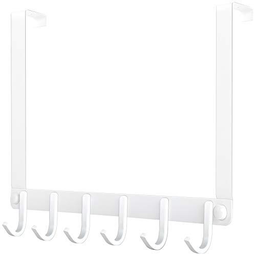 WEBI Over The Door Hook White,Over Door Hanger Hook,Door Coat Hanger,Over The Door Coat Rack for Hanging Clothes,Towels,Behind Back of Bathroom