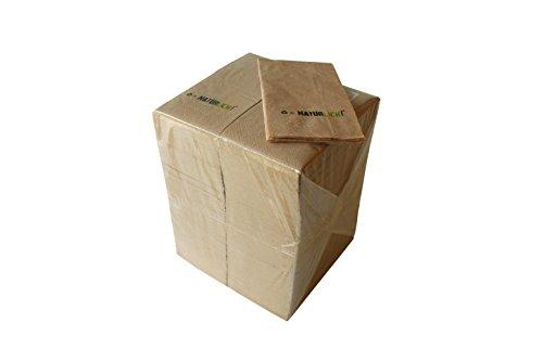 Unbekannt Servietten NATÜRLICH Zelltuch aus 100% Recycling, 2-lagig, 1/8 Falz, 33 x 33 cm (250 Stück)