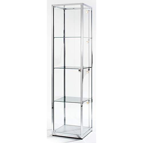 Vitrine colonne - hauteur 2000 mm, 1 porte pivotante - l x p 500 x 500 mm, façon inox - armoire à vitrine armoires à vitrine présentation vitrine vitrine d'affichage vitrine d'assortiment vitrines vitrines d'affichage vitrines d'assortiment Présentation