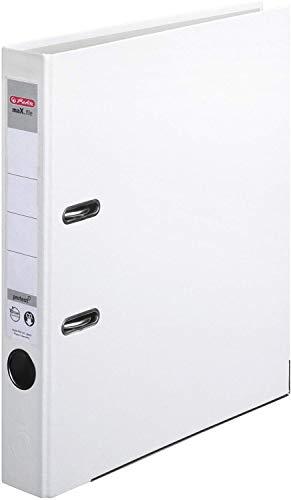 Herlitz 9942616 Ordner maX.file protect A4 5cm weiß, PP-Kunststoffbezug/Papier hellgr.besch. 5er Packung