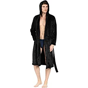 YIMANIE Mens Flannel Robe Hooded Plush Shawl Long Bathrobe Sleepwear