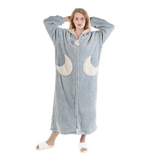 LIBWYS Damen-Bademantel flauschig super weich luxuriös mit Kapuze in voller Länge für Frauen Plüsch Fleece warm Bademantel mit Reißverschluss Gr. X-Large, blau