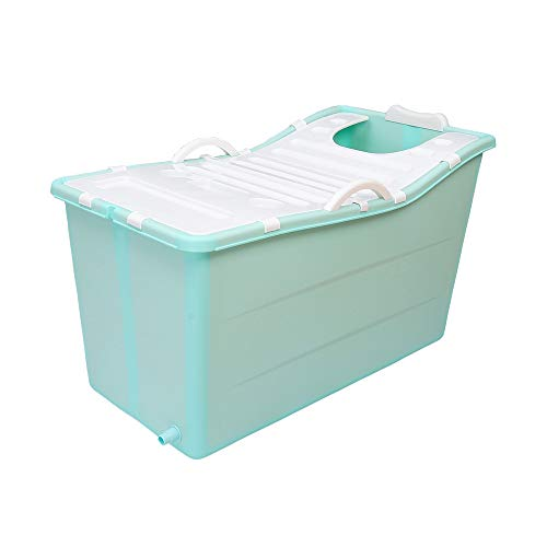 Adulto Bañera Portátil Plegable De Bañera, Ducha De Hogares Bandeja De Gran Bañera Plegable, Cómodo Bañera Plegable para Adultos,Azul