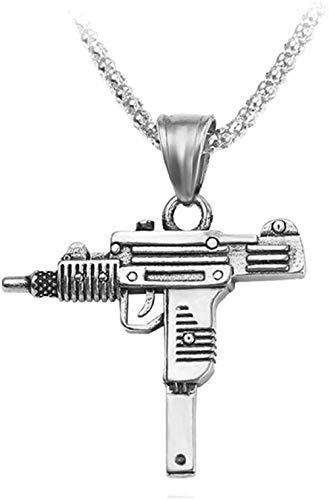 MGBDXG Co.,Ltd Collar Cool Gothic Hip Hop Uzi Gun Colgante en Forma de Collar Color Plateado Estilo Militar Cadena Masculina Hombres Collares Collar de joyería