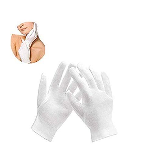 WYMAODAN weiße Baumwollhandschuhe, 6 Paar trockene Hände, feuchtigkeitsspendende Handschuhe, Stoff, Servierhandschuhe für Männer und Frauen, mittlere Größe