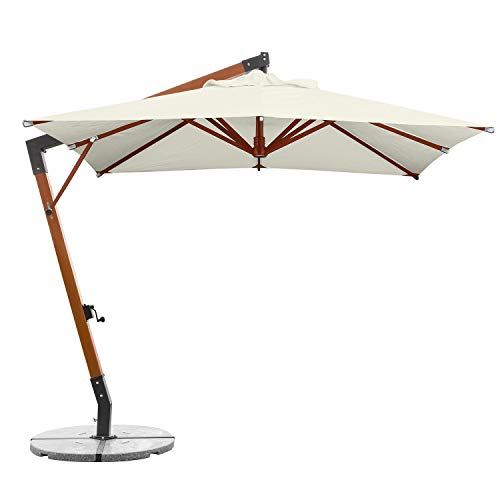 anndora Ampelschirm 3x3 m Sonnenschirm Natural inkl. 160 kg Granit Schirmständer Größe: 3 x 3 m quadratisch Höhe: 3,30 m Durchgangshöhe: 2,20 m